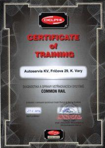 Certifikát Autoservis KV